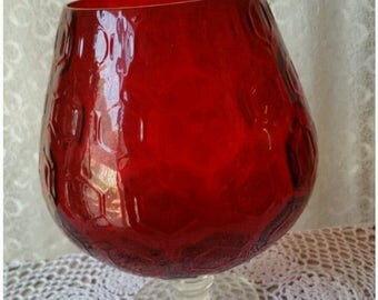 Retro 70s Ruby Red Glass Brandy Balloon Glass Kitchen and Dining Decor Focal Piece Bohemian Accent Glass