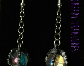 Dragon Claw/crystal ball Earrings.  925 sterling Silver.