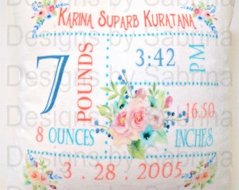 Personalized FLOWER BABY GIRL Pillow-Birth Announcement-Nursery Decor-Baby Pillow-Keepsake Pillow-Personalized Pillow-New Baby-Birth Stats