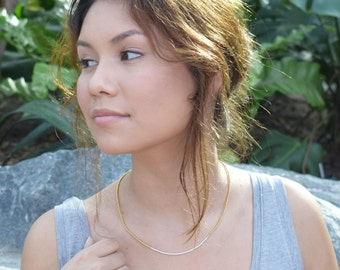 "N E C K L A C E  -  J U N E  -  minimalist 18"" necklace in gold and silver plated seedbeads"