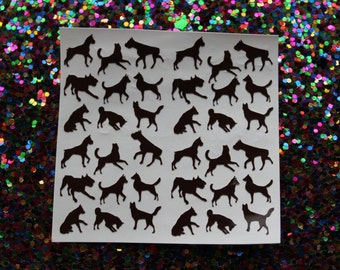 36 dog vinyl nail decals for nail art available in 20 colours including holographic. Nail decals, nail stickers, nail vinyls, puppy, canine
