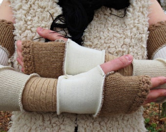 Mittens/heating long arm in patchwork of recycled to the nuances of beige wool!