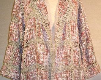 Pin Loom Weaving Crochet Lace Cardigan Pattern Make It Yourself DIY