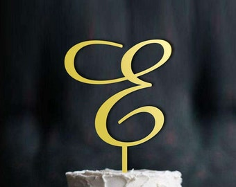 Letter E, Gold Letter Cake Toppers, Single Letter Monogram Wedding Cake Toppers,  Wedding Cake Toppers Letter Monogram in Gold Color, CT#023