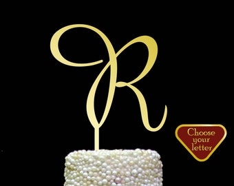 Letter R Cake Topper, initial cake topper, gold wedding cake topper,  cake toppers single letter, wedding cake topper, Gold Letter r, CT#069