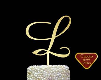 Letter L Cake Topper, initial cake topper, gold wedding cake topper, cake toppers single letter, wedding cake topper, Gold Letter l, CT#092