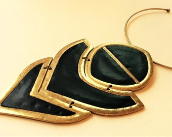 Nordstrom Large Modern Art Necklace  Original Tags Black Leather Insets Never Worn