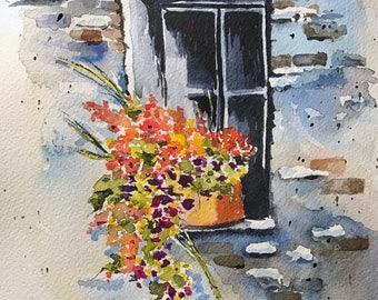 Springtime Window (Original Watercolor Painting)