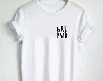 GRL PWR pocket Shirt - Womens Shirts, Unisex Tees, Feminist Feminism Shirt Tees Flowers Strength Girls Female Tops Girl Power Shirt