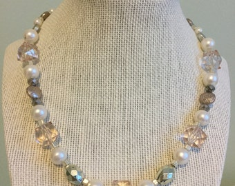 "Vintage Beads -  ""Summer Solstice""  Upcycled Necklace - Jewelry Made with Vintage/ Recycled Materials"