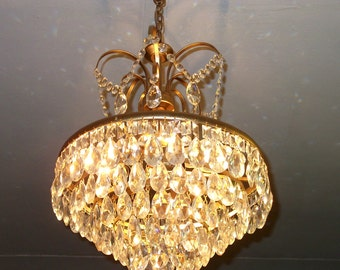 Antique Ceiling Light Vintage French Brass Sparkling Shabby Chic Crystal Basket Chandelier Ligting