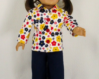 Doll Pajamas For 18 inch Doll,  Doll Clothes, Doll PJ's, Fits American Girl, Flannel Pajamas, Free Shipping, 2 Piece Pajama Set