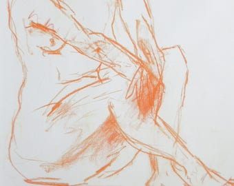 Nude orange from pastel chalk, nude in the studio, original sketch, nude on white paper A2, slightly sexy pose erotic