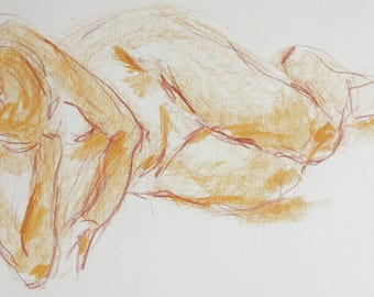 Modern female nude, original pastel drawing, nude in the Studio, lying nude with pastel on white paper A2