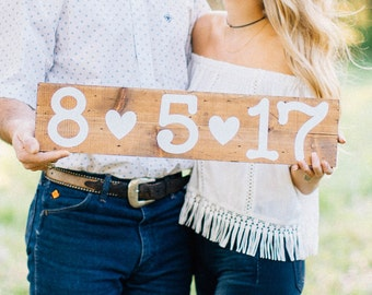 Personalized Save The Date Wood Sign, Wedding Date Wood Sign, Engagement Picture Props; Made to Order