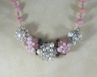 Cluster pearl vintage assemblage bib necklace.   Bridesmaid