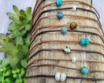 """Simple Gemstone and Pearl Chokers. Create Your Own. Choose Stone & Leather. Adjustable sizing 15""""-17"""". Boho Choker. Minimalist  #432"""