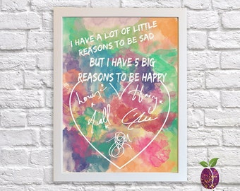 One Direction ~ Printable Wall Art ~ Watercolor ~ 8 x 10 ~ 5 x 7