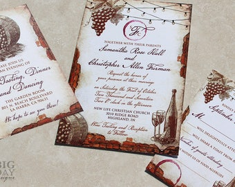 New for 2017! Vintage Winery Wedding Invitation Set. Vineyard themed wedding invitations. Vintage Vineyard Fairylights Wedding Invitation