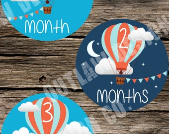 Baby Monthly Milestone Markers Printable Instant Download Gender Neutral Hot Air Balloon Sky Moon Stars Night Clouds Boy Girl Age Stickers