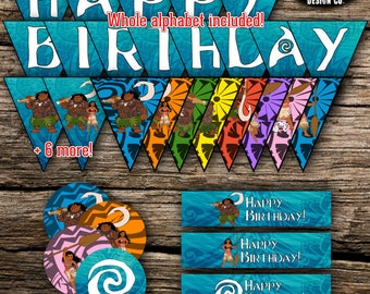 Moana Maui Birthday Party Pack Bundle Disney Vaiana Birthday Boy Girl Decor Kit Instant Download Printable DIY Cupcake Toppers Banner Labels