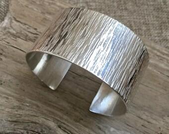 Sterling silve textured cuff bracelet