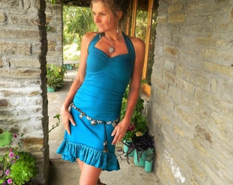 Blue Sundress for women, Spanish style, Teal high Low dress, Turquoise Festival clothes for her, Gypsy dresses, Asymmetrical wear, Boho Chic