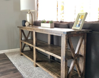 Rustic Farmhouse X Console Sofa Table