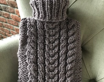 Hand Made Cable Knitted Hot Water Bottle Cover