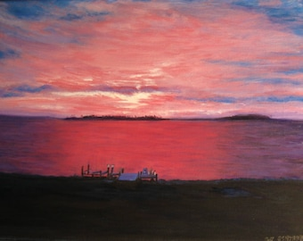 Oil painting of Pink Sky Sunset on the Eastern Shore