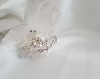 Bridal Hair Comb, Crystal Hair Comb, Wedding Hair Accessories, Vintage Inspired Bridal Hair Comb, Feather Hair Comb