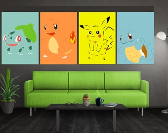 Minimalist Pokemon Poster Set Pokemon Poster Set Pokemon Wall Art Bulbasaur Charmander Squirtle Pikachu Poster Set Pokemon Print Pokemon