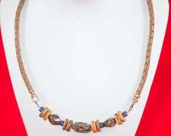 Smokey quartz, lapis and wood beaded boho necklace