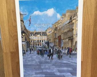 Georgian city of Bath, signed giclée print 8 x 10 inch