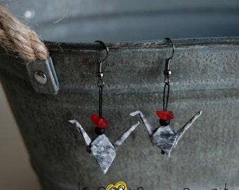 (Crane) - G009 origami earrings