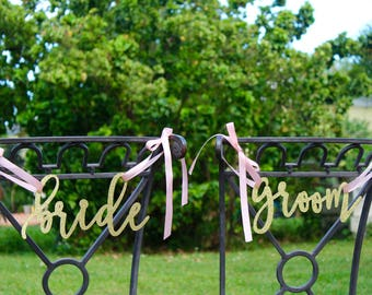 Bride and groom chair sign, bride and groom signs, wedding signs, rustic wedding decor, mr and mrs chair sign, gold glitter bride and groom