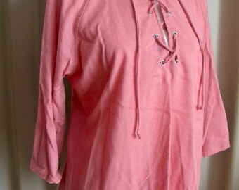 Vintage Lace-Up Pink Blouse