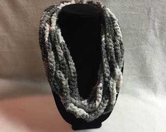 Hand-crocheted Chain Infinity Scarf/Necklace (#018)