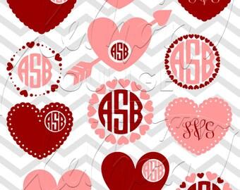Heart Monogram svg, valentine's svg, love monogram svg, valentine monogram svg, cut file, digital cutting file, love svg, commercial use OK,
