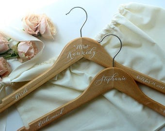 Custom Wedding Hanger w/ Bag, Personalized Wedding Dress Hanger w/ Bag, Personalized Hanger, Wedding Hanger, Gown Hanger, Bridesmaid Gift