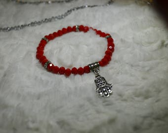 6mm bracelet with crystal beads and Hamsa pendant, religion of the Jews, the bracelet tradition of Israel, a delicate and beautiful red