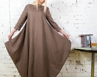 White linen dress, long linen dress, linen dresses women, linen extravagant dress, maxi summer dress, long sleeves dress/ LD0006