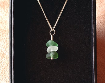 Handmade Green and Clear Seaham Sea Glass Stack Necklace Sterling Silver