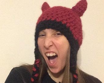 Devil horns crochet hat