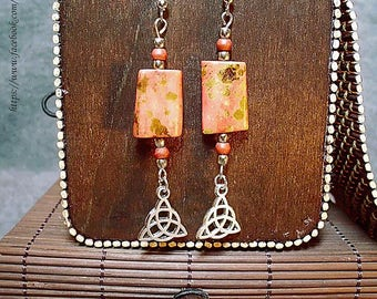 Ohrrringe/Keltische Amulett/ Symbol/Earrings/Celtic Amulet/Talisman/Boho/Coral/Silver/Accents/Amulet/Triangle Protection Celtic
