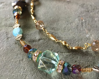 """Double Strand Beaded Necklace, Turquoise, Brown & Gold, 21-24"""""""