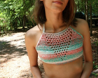 Crochet top, crop top, summer top, halter top, girly crop top, handmade, festival top