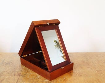 Great, fine vintage jewelry box made of wood with mirror. Box for storage of jewelry, cosmetics, or sign needs. Box, box.