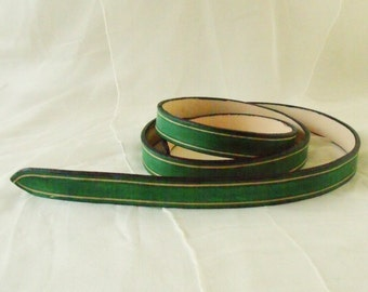 Leather belt Green 2 cm