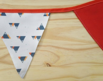 Mountain Print Orange Fabric Bunting - 2.5m